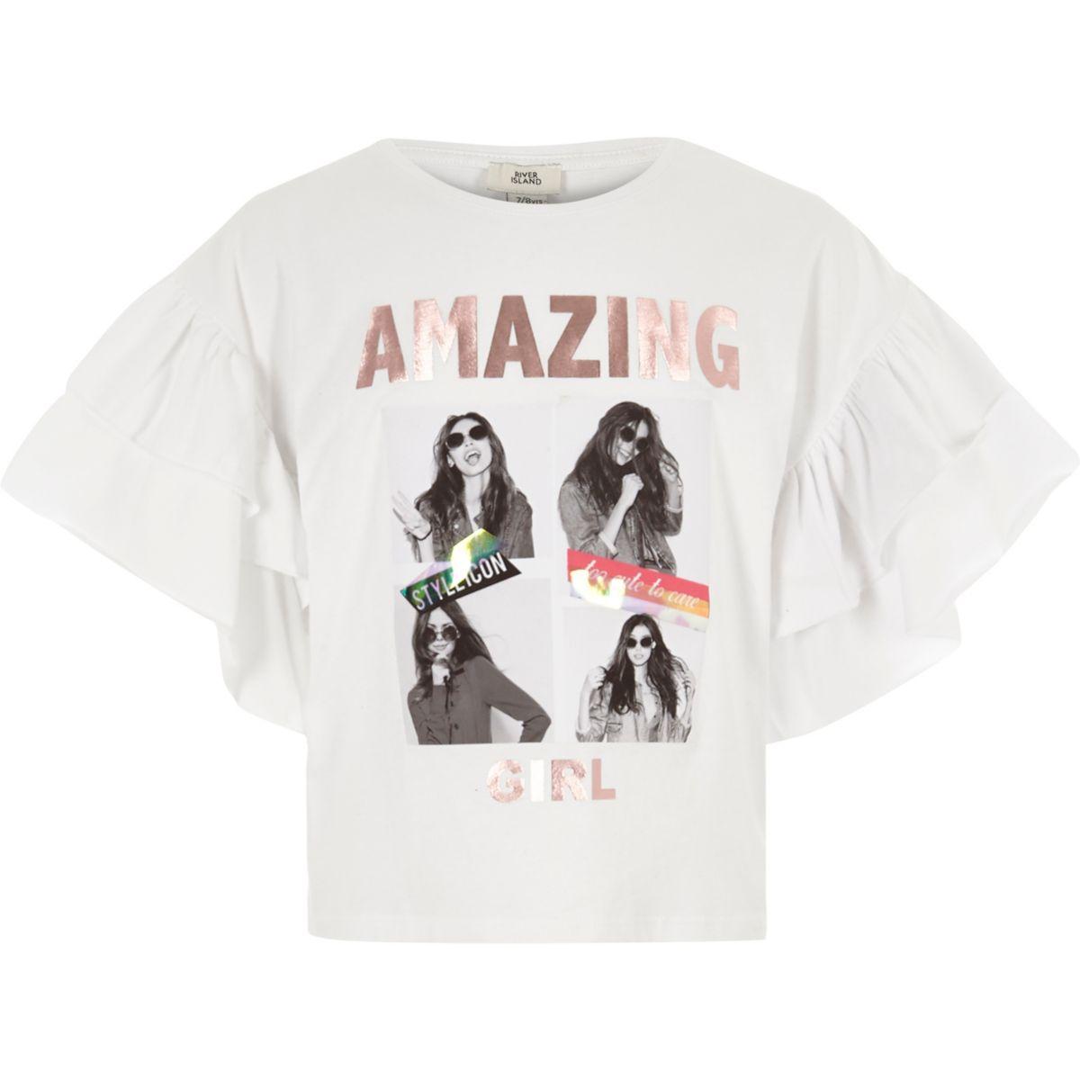 Girls white 'amazing girl' frill T-shirt