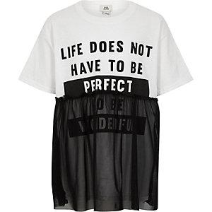 Wit T-shirt met print en mesh bovenlaag voor meisjes