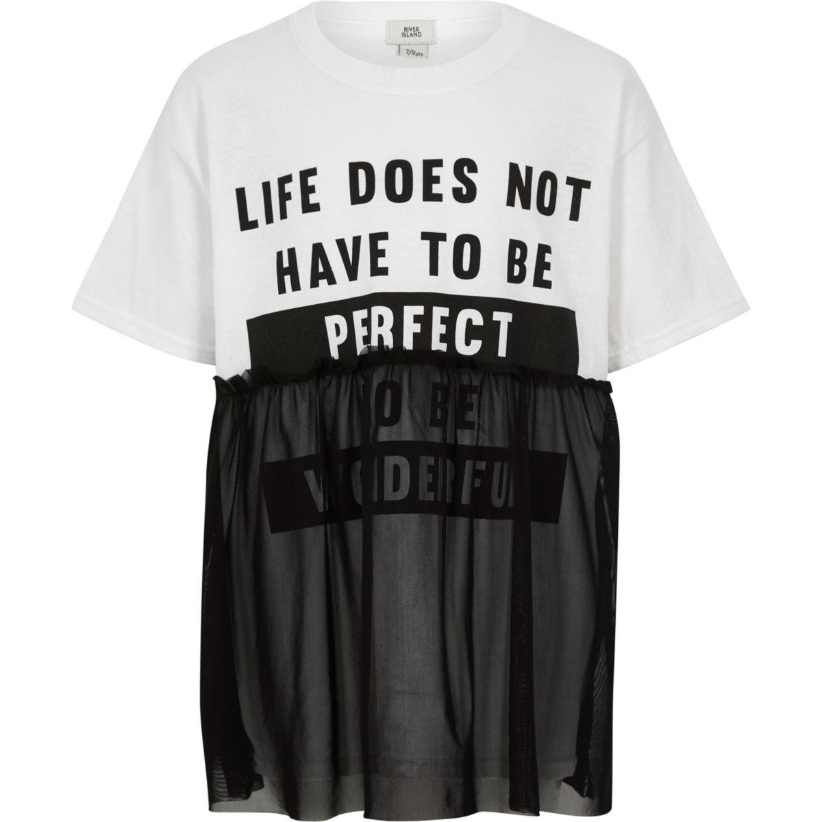 Girls white printed  mesh overlay T-shirt