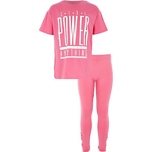 Girls pink 'girl power' diamante outfit