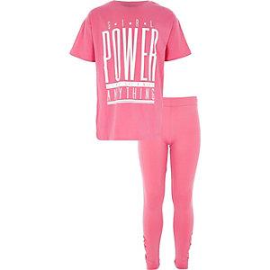 Roze 'girl power' outfit met stras voor meisjes