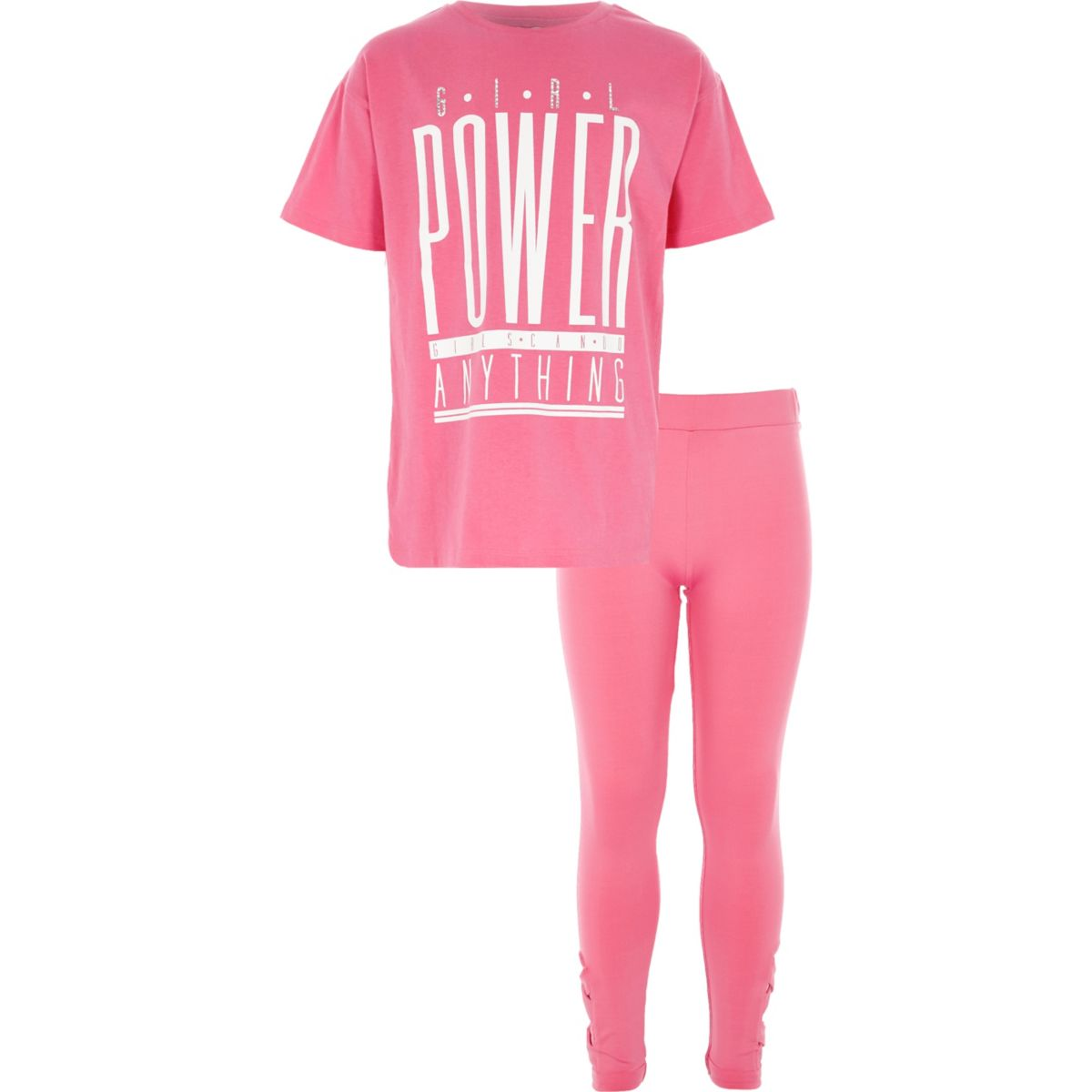 Girls pink 'girl power' rhinestone outfit