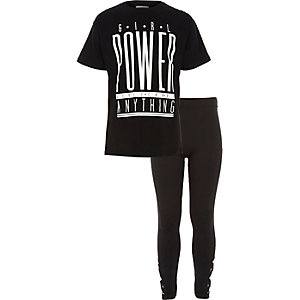 Girls black 'power' T-shirt leggings outfit