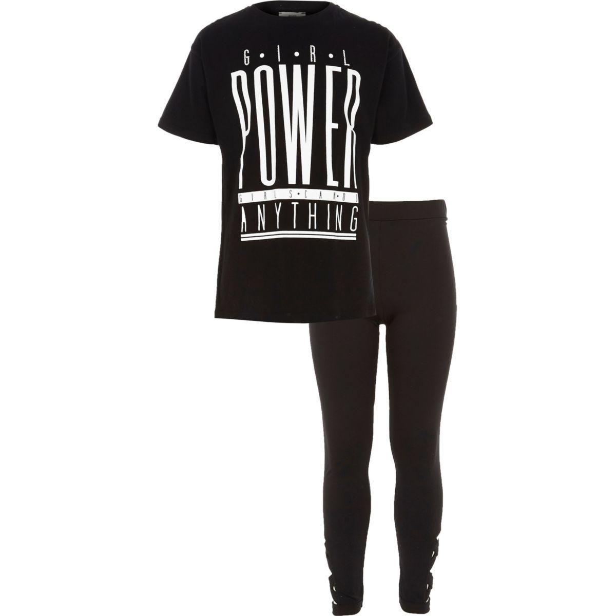 Ensemble leggings et t-shirt « power » noir pour fille