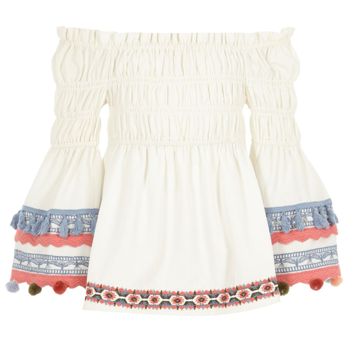 Girls cream pom pom trim shirred bardot top