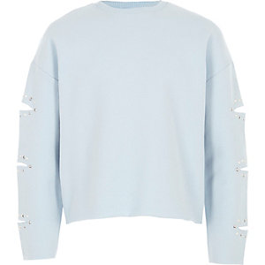 Girls light blue split sleeve sweatshirt