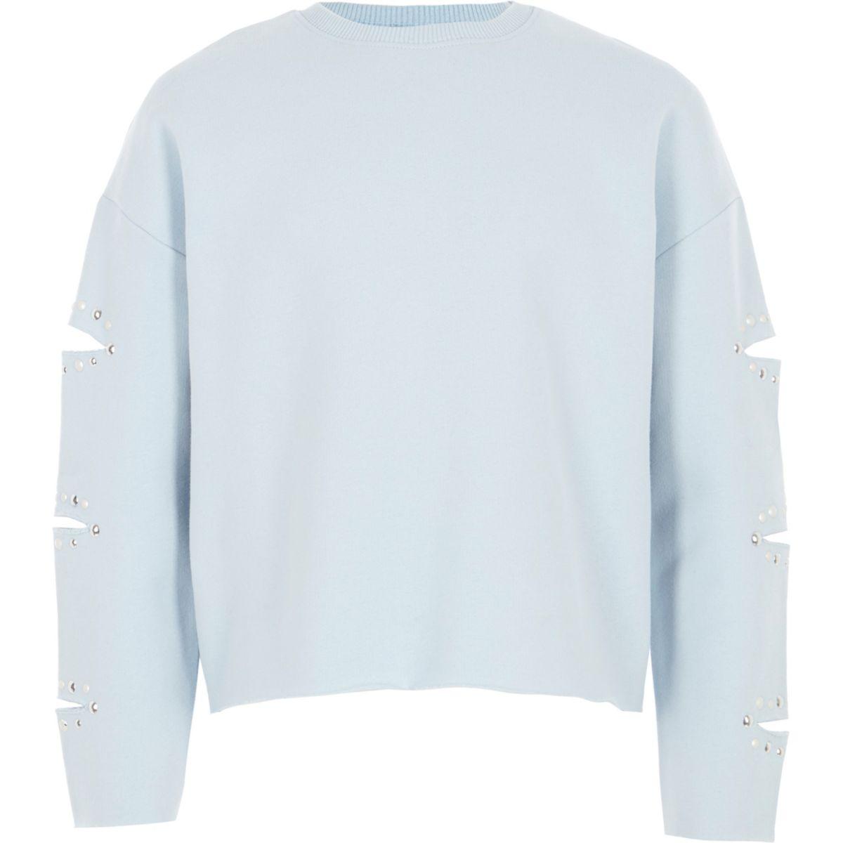 Hellblaues Sweatshirt mit geschlitzten Ärmeln