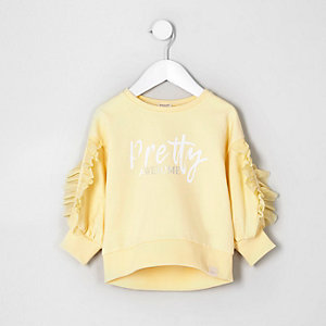 Mini - Geel sweatshirt met ruches en 'pretty'-print voor meisjes