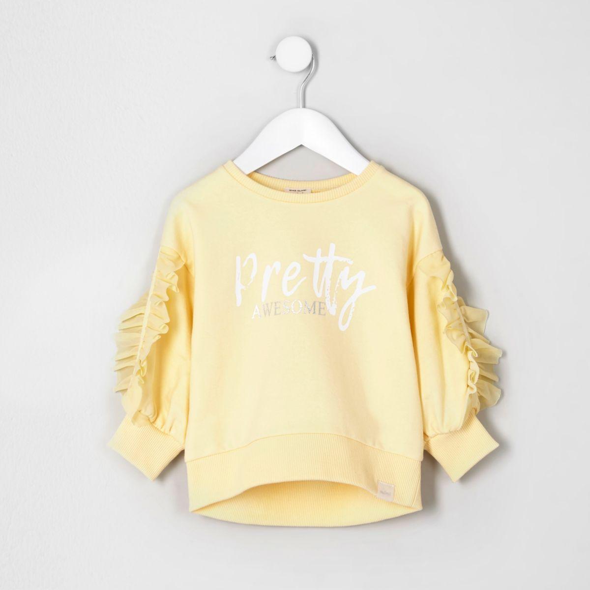 Mini girls yellow 'pretty' frill sweatshirt