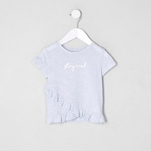 Mini girls blue 'stay cool' frill T-shirt