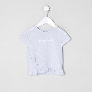 Mini - Blauw T-shirt met ruches en 'stay cool'-print voor meisjes