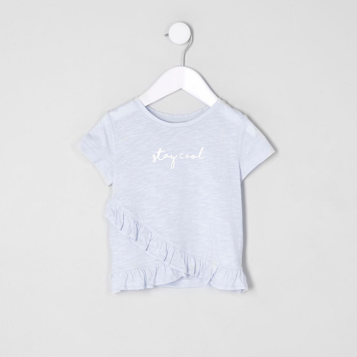 Mini girls blue 'stay cool' frill T-shirt