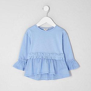 Mini - Blauwe top met poplin bies en ruches in de taille voor meisjes
