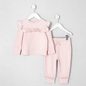 Mini girls light pink frill sweatshirt outfit
