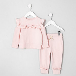Tenue avec sweat rose clair à volants mini fille