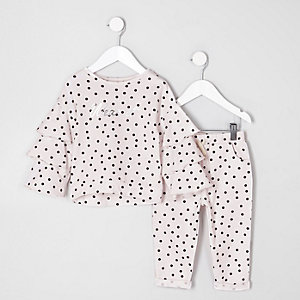Ensemble à pois rose à top à volants mini fille