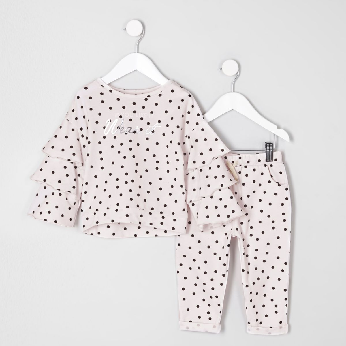 Mini girls pink polka dot frill top outfit