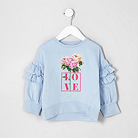 Mini girls blue 'love' floral sweatshirt