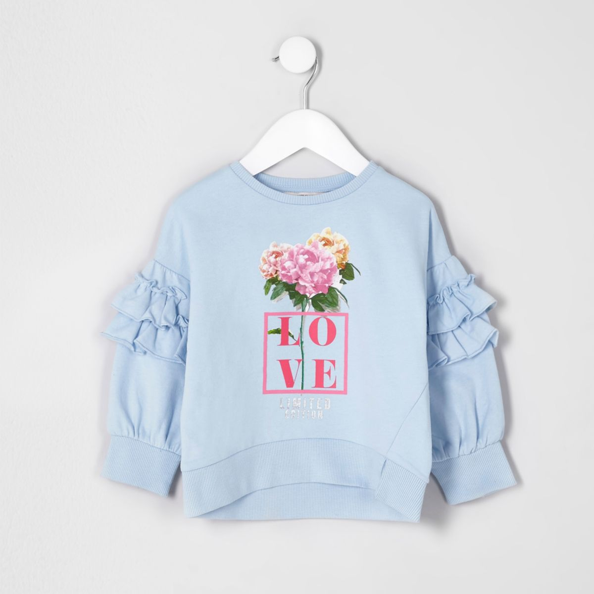 Mini girls blue 'love' floral sweatshirt