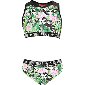 Girls green geo tropical bikini set