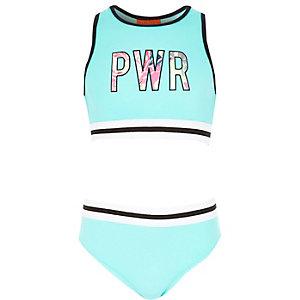 Blauwe sportieve crop top bikiniset voor meisjes