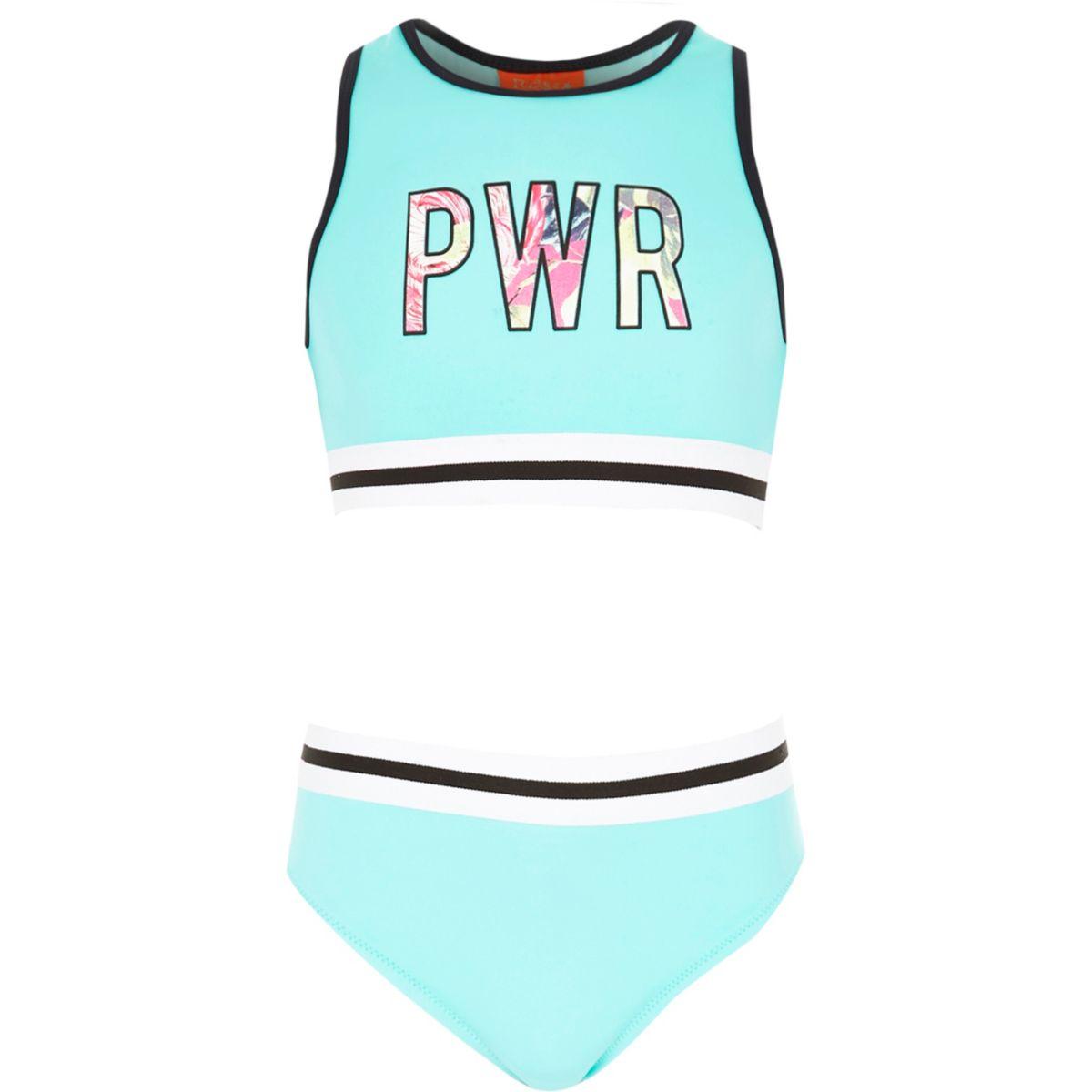 Bikini bleu avec crop top style sport pour fille