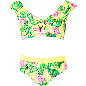 Gele cropped bikini met bloemenprint en knoop voor meisjes