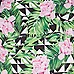 Grüner Bardot-Badeanzug mit tropischem Muster und Rüschen