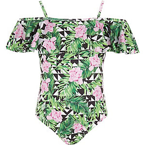 Girls green tropical frill bardot swimsuit