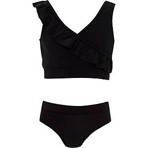 Zwarte bikini met overslag en ruches voor meisjes