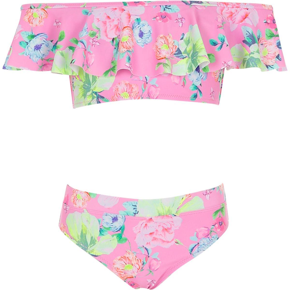 Bikini à fleurs rose avec encolure Bardot à volants pour file