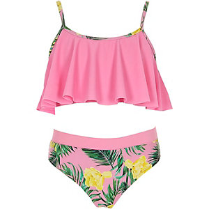 Bikini rose à volants à imprimé tropical pour fille