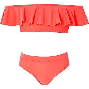 Girls coral pink bardot frill bikini set
