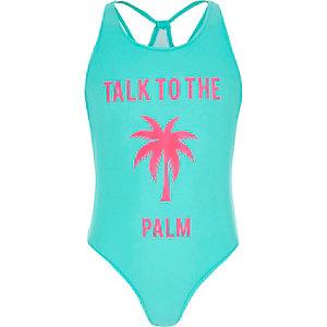 Blauw zwempak met 'Talk to the palm'-print voor meisjes