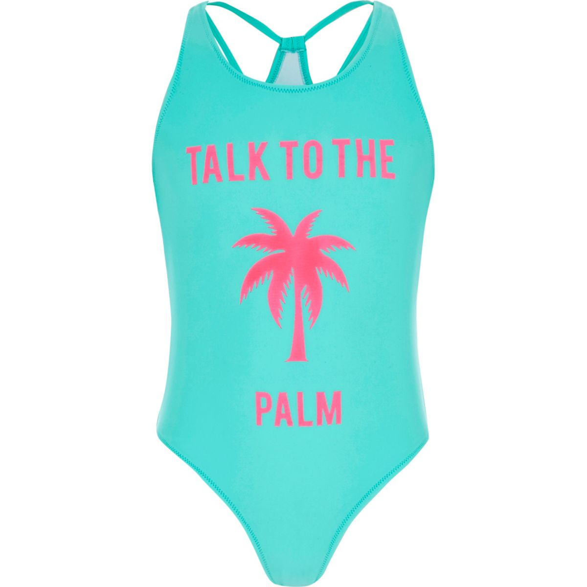Girls blue 'talk to the palm' swimsuit