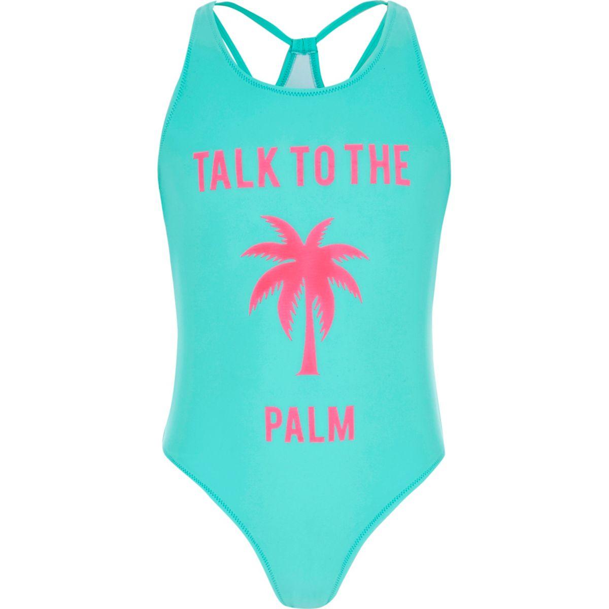 Maillot une-pièce «talk to the palm» bleu pour fille