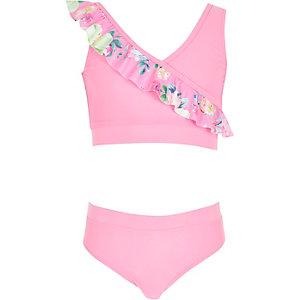 Roze gebloemde bikini met overslag en ruches voor meisjes