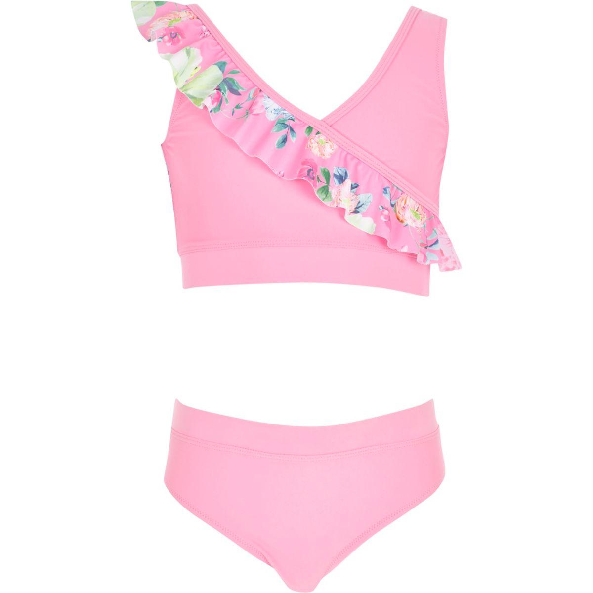 Bikini rose style cache-cœur à motif floral pour fille