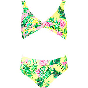 Girls pink triangle twist front bikini