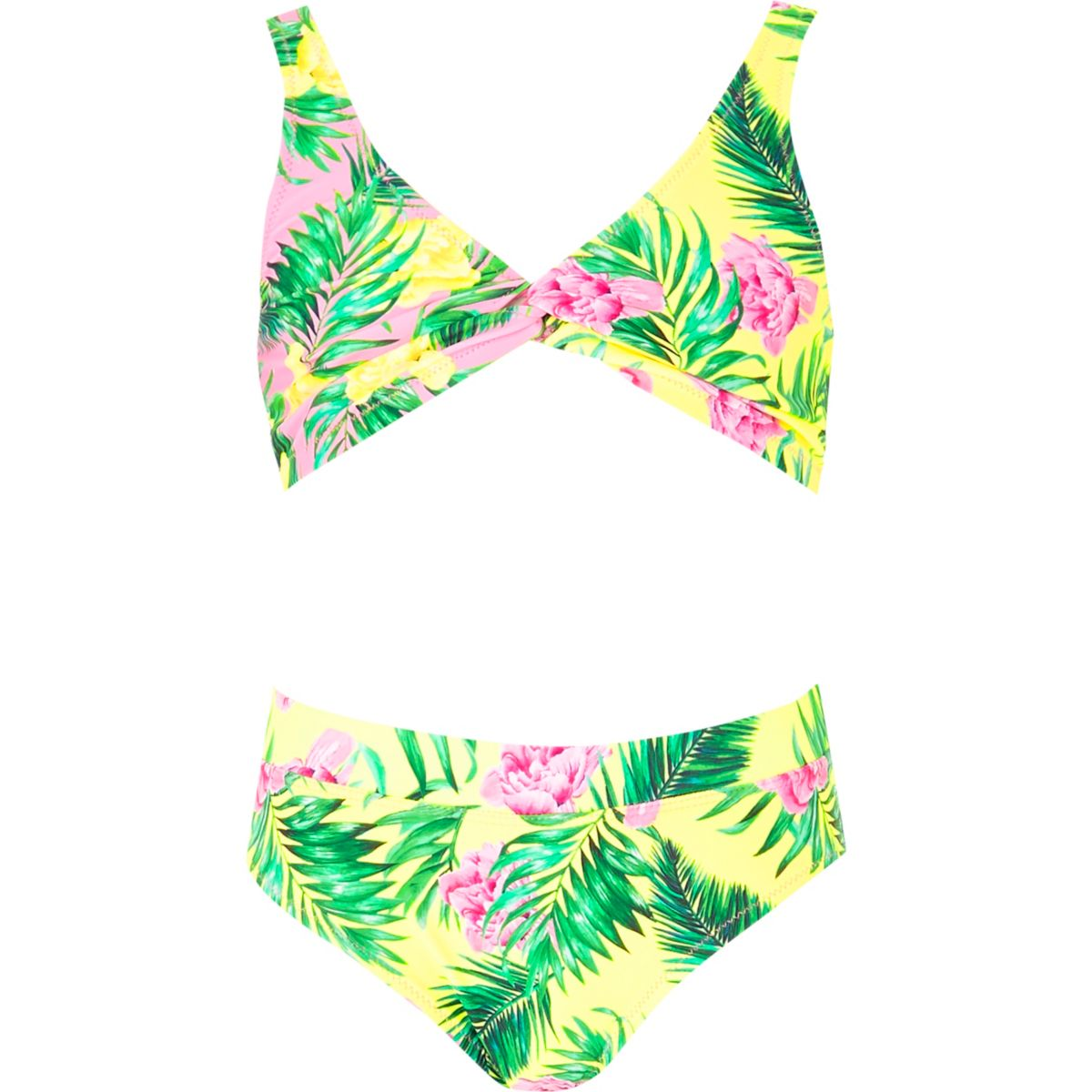 Girls pink triangle twist front bikini