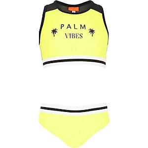 Gele racer bikiniset met 'palm vibes'-print voor meisjes