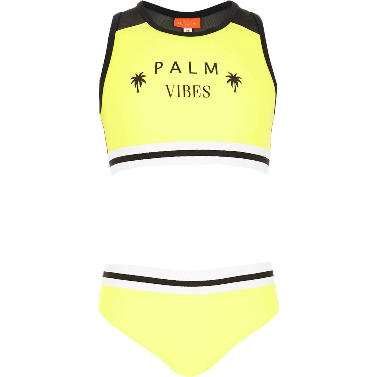 Girls yellow 'palm vibes' racer bikini set