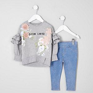 Ensemble avec sweat-shirt au crochet motif floral pour mini fille