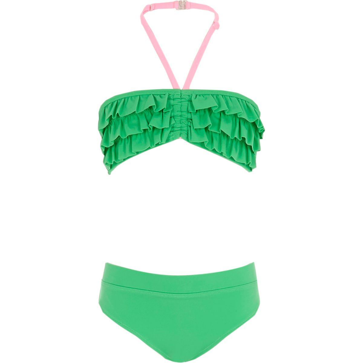 Girls green ruffle front bandeau bikini