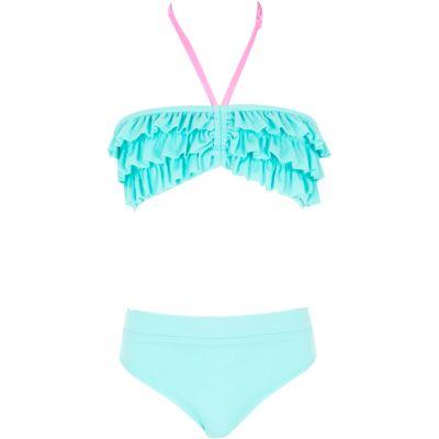 River Island Bikini bleu aqua style bandeau avec volants pour fille