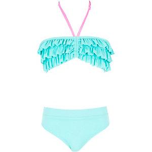 Girls aqua blue ruffle bandeau bikini set