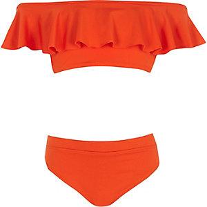 Girls red bardot frill bikini