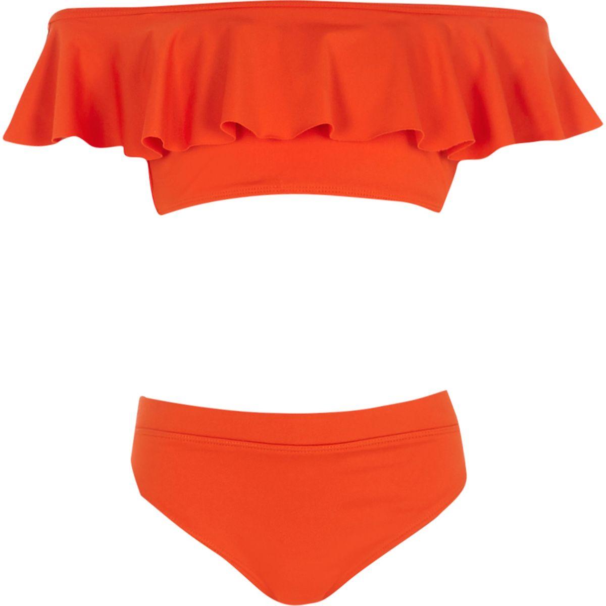 Roter Bardot-Bikini mit Rüschen