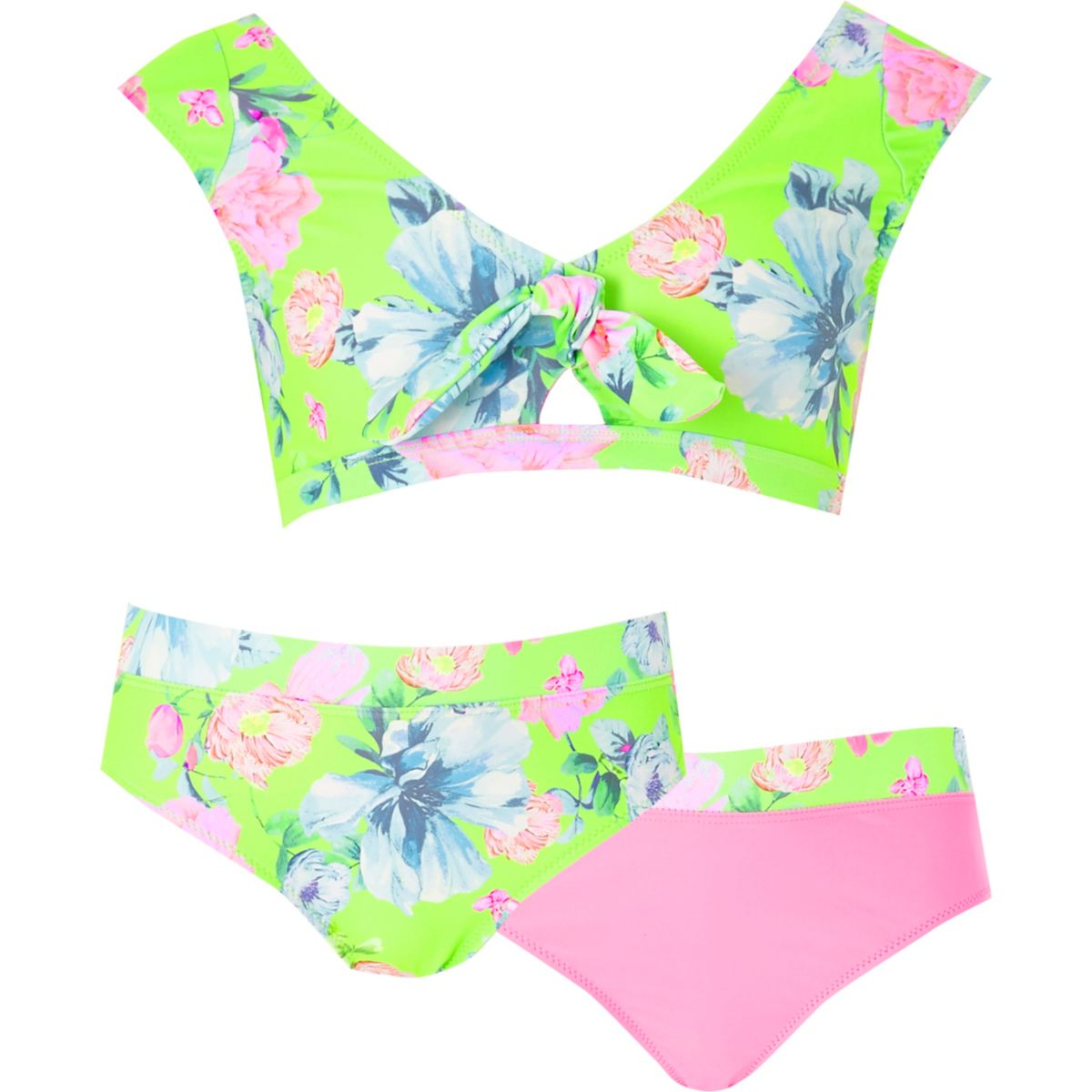 Girls green floral three piece bikini set