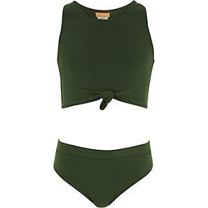 Kakigroene bikini met knoop voor meisjes